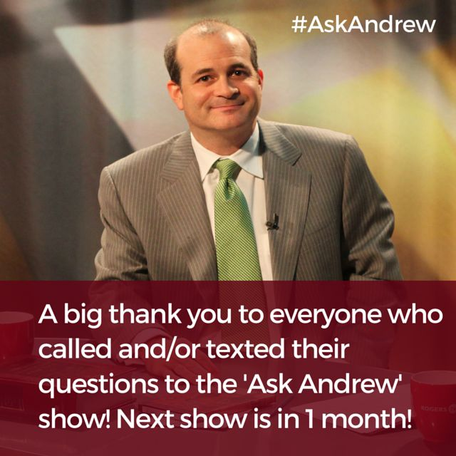 A big thank you to everyone who called and/or texted their questions to the 'Ask Andrew' show! Next show is in 1 month!