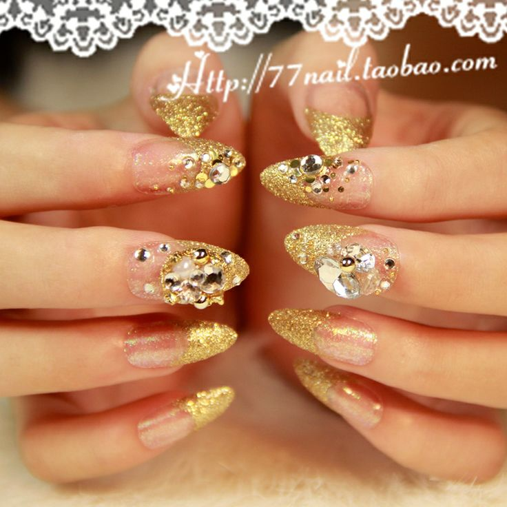 Stiletto Nail Art With Diamonds: Aliexpress.com : Buy Recommend Beautiful Bride Gold French