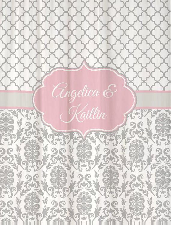 "Shower Curtain Gray Damask with Pale Pink Accents 69x70"" Monogram Name Personalized Custom for Your Bathroom"