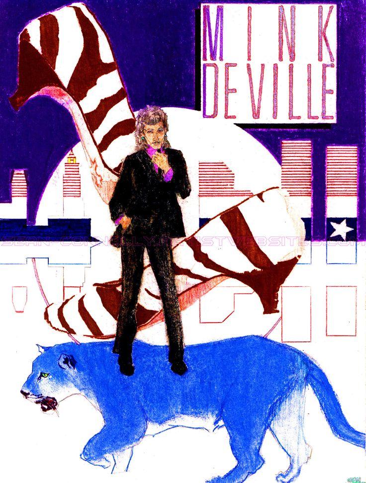 """""""Mink DeVille - Le Chat Bleu"""" • Pencils; ink; pastels; charcoal on paper • 8.5"""" x 11"""" • © 1985 Original Sean Connolly illustration."""