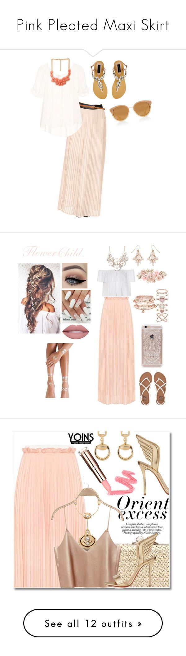 """""""Pink Pleated Maxi Skirt"""" by fairywitch ❤ liked on Polyvore featuring Forever 21, Joie, Forever New, Tory Burch, Ally Fashion, Flash Tattoos, Full Tilt, Accessorize, Billabong and Rifle Paper Co"""