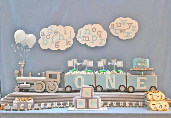 railroad themed baby shower | alphabet train baby shower 31