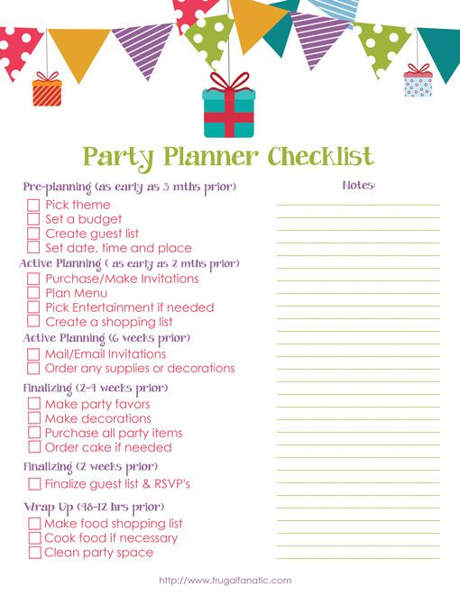 Best Checklist Printable Images On   Birthday Party