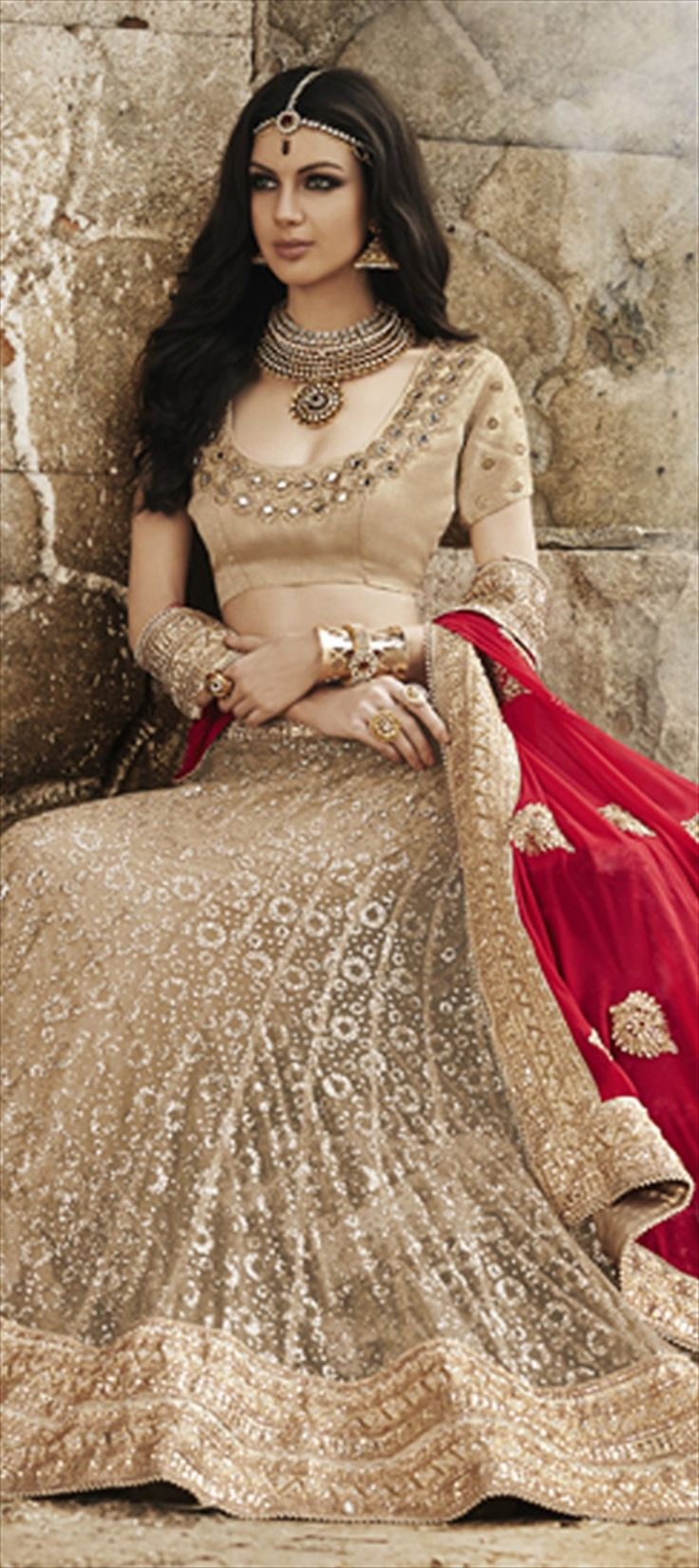 161052: Beige and Brown, Red and Maroon color family Lehngas Style Sarees with matching unstitched blouse.