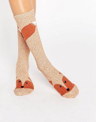 Monki - Chaussettes de Noël hauteur genou à motif renard