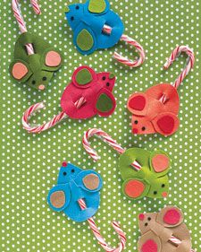 "Candy Cane Mice    Deputy crafts editor Silke Stoddard has made these easy, inexpensive, and sweet mice for whole preschool classes as holiday gifts and party treats. ""I've even made them for holiday bake sales and used them as gift toppers,"" she says. For a twist, try making them on heavyweight paper instead of felt.    Learn how to make Candy Cane Mice with felt and our printable template."