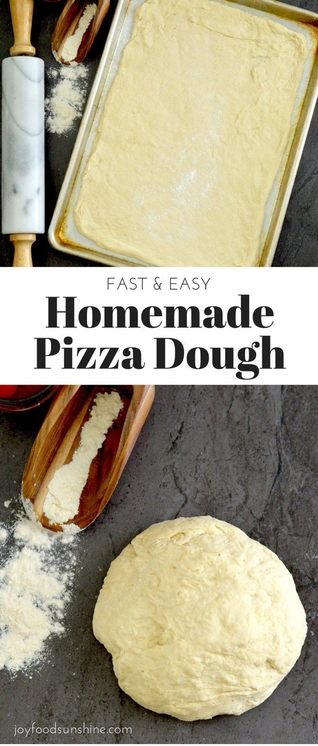 Easy Homemade Pizza Dough! This fast and healthy recipe makes homemade pizza crust in 30 minutes flat! Slathered with your favorite sauce, it's the perfect idea for a fast dinner! Plus it's vegan with a gluten-free option!