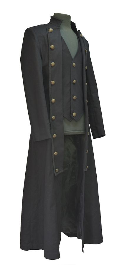 black coat waistcoat with lacing on the back