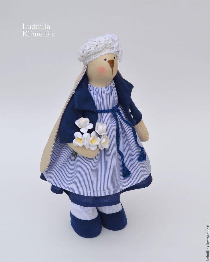 Купить Зайка Сильвия - тёмно-синий, синий, заяц, заяц игрушка, заяц тильда