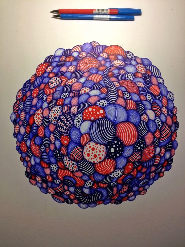 You'll Never Believe That These Are Ballpoint Pen Drawings. Based in Shanghai,China, Wang 2mu (二木 王) is pretty handy with a ballpoint pen. The illustrator works mostly with blue and red ink to create intricately detailed designs that look as though they could be digital. His themes revolve around technology, childhood nostalgia, and domestic culture. The level of saturation and three dimensionality that he achieves with simple ballpoint pens is unbelievable.