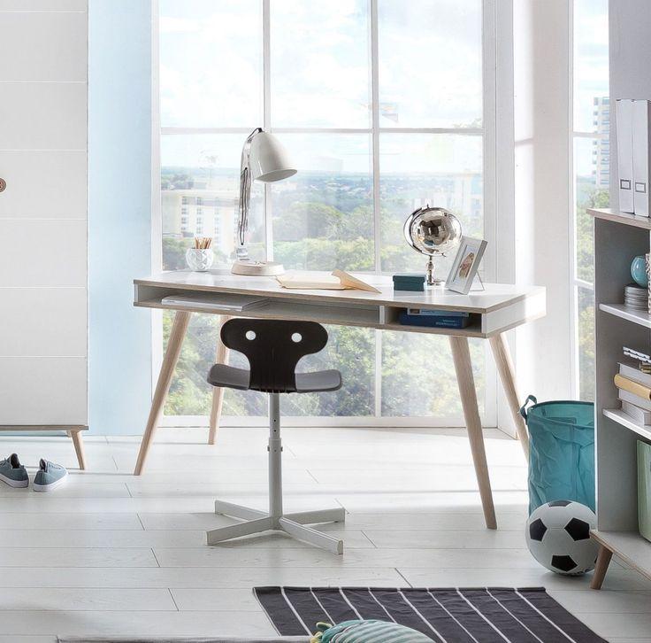 Schreibtisch Mit Stauraum Alpinweiss/ Eiche Sägerau Woody 132 01761 Holz  Modern Jetzt Bestellen Unter