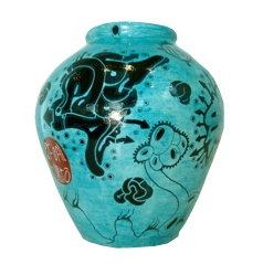 Artist Pascoal Sissero: Art-pottery, Hight 20 cm. Acrylics, markers and lacquer.