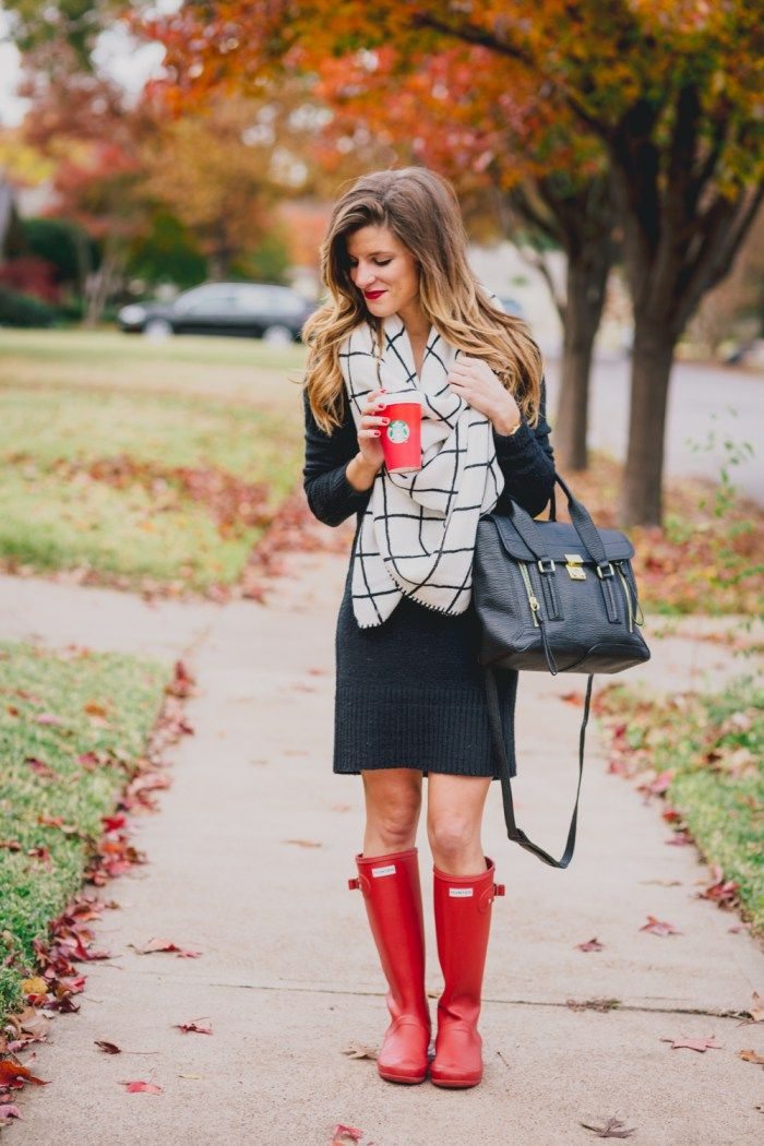 Black Sweater Dress + Check Blanket Scarf + Red Hunter Boots Fall Outfit 13