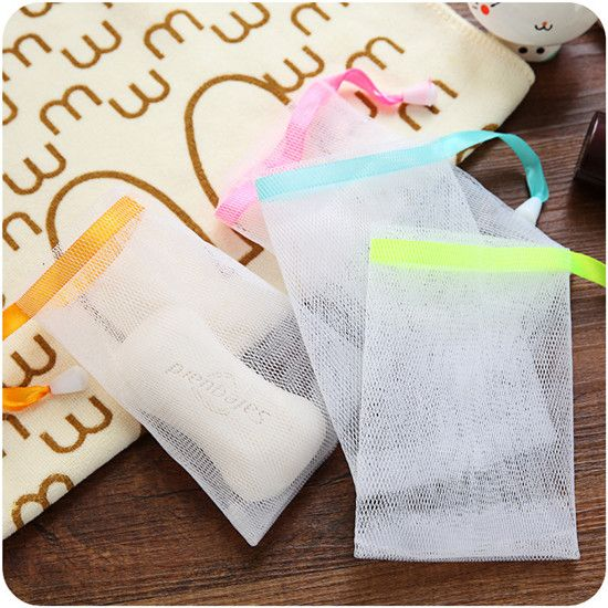 3pcs/lot Hanging Nylon Soap Mesh Bag Mesh Net for Foaming Cleaning Bath Soap Net bathe cleaning gloves HE22