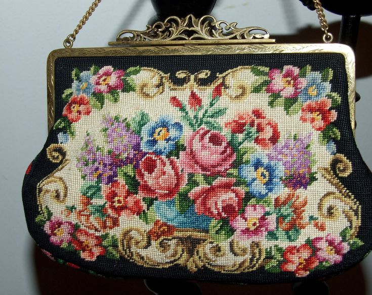 Stunning French Petit Point - two pieces - Antique Purse Bag!!! This is a very classy c.1930 petit point evening purse with a formal floral pattern. The brass gold frame has an Antique Art Nouveau look, with engraved designs and a clasp. There isnt a tag to indicate a maker, but it was made in France. The petit point - two pieces- bag is in very good condition .The clasp works properly and holds securely. Quality of satin lining is good. Measurements:  The big bag is: 20 cm/ 7,87 wide x 15…