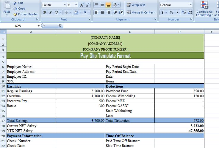 Pay Slip Template Format in Excel and Word ExcelDox Excel - payroll slip template excel