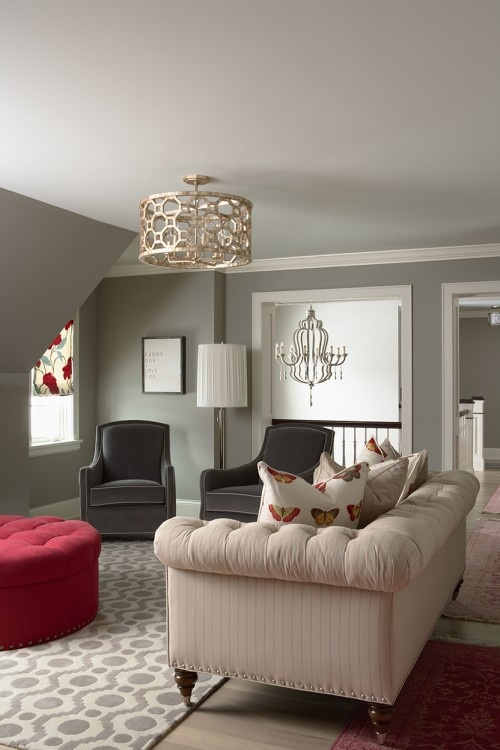 Love the paint & circle ceiling light fixture