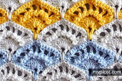 Crochet Textured Shell stitch. MyPicot | Free crochet patterns