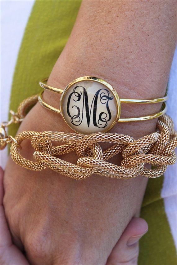 Monogramma di un pollice d'oro bracciale regolabile  di kraftychix, $19.99