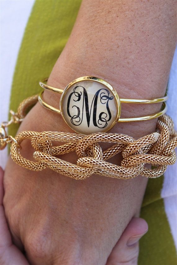 Monogram Gold Bracelet - $19.99. https://www.bellechic.com/deals/218860f5b354/one-inch-monogram-gold-adjustable-bracelet