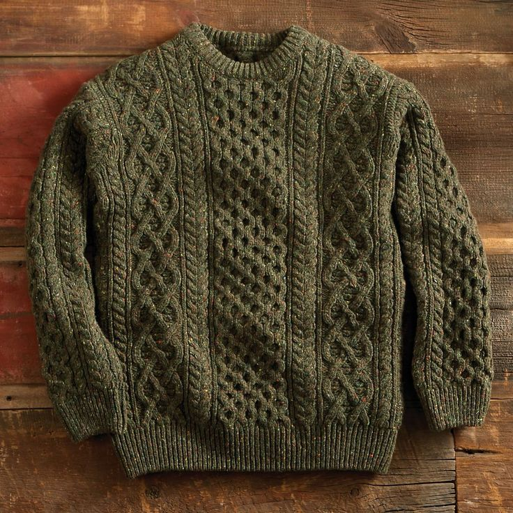 This cozy Aran-stitch sweater is knit in Dublin using a blend of wool and cashmere for exceptional softness.