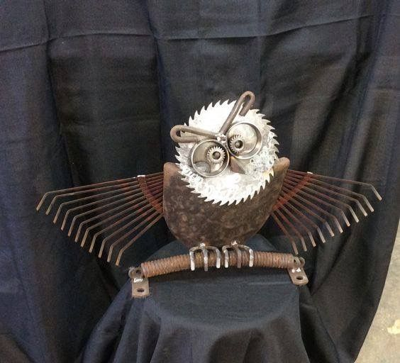 Garden Owl Upcycled From Leaf Rakes, Shovel Head, Saw Blade .