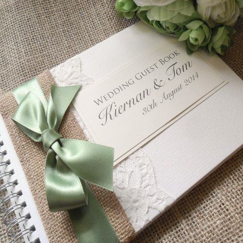 Vintage Bow Hessian Wedding Guest Book - Handmade and Personalised Rustic Burlap Guest Book with Lace and Satin Ribbon. £16.50