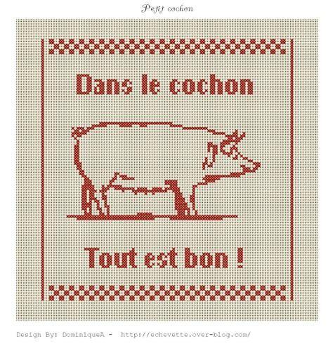 cuisine - kitchen - cochon - point de croix - cross stitch - Blog : http://broderiemimie44.canalblog.com/