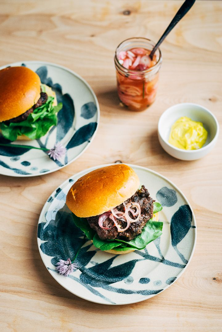 grass-fed burgers with quick-pickled shallots and chive blossoms // brooklyn supper