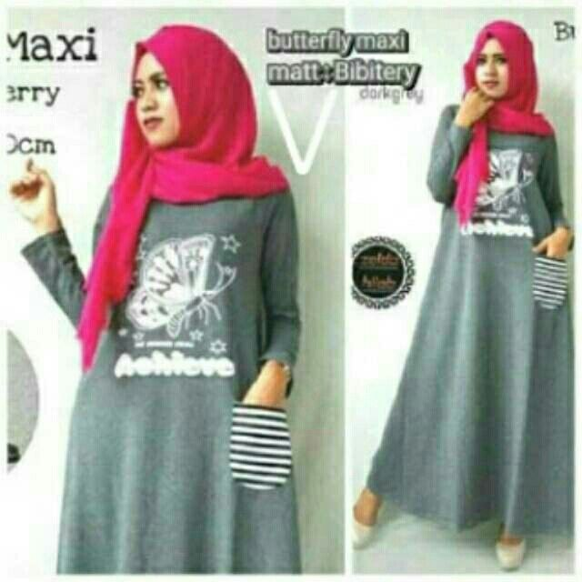 @73000 butterfly maxi bahan spandek uk all size fit L besar tanpa pasmina