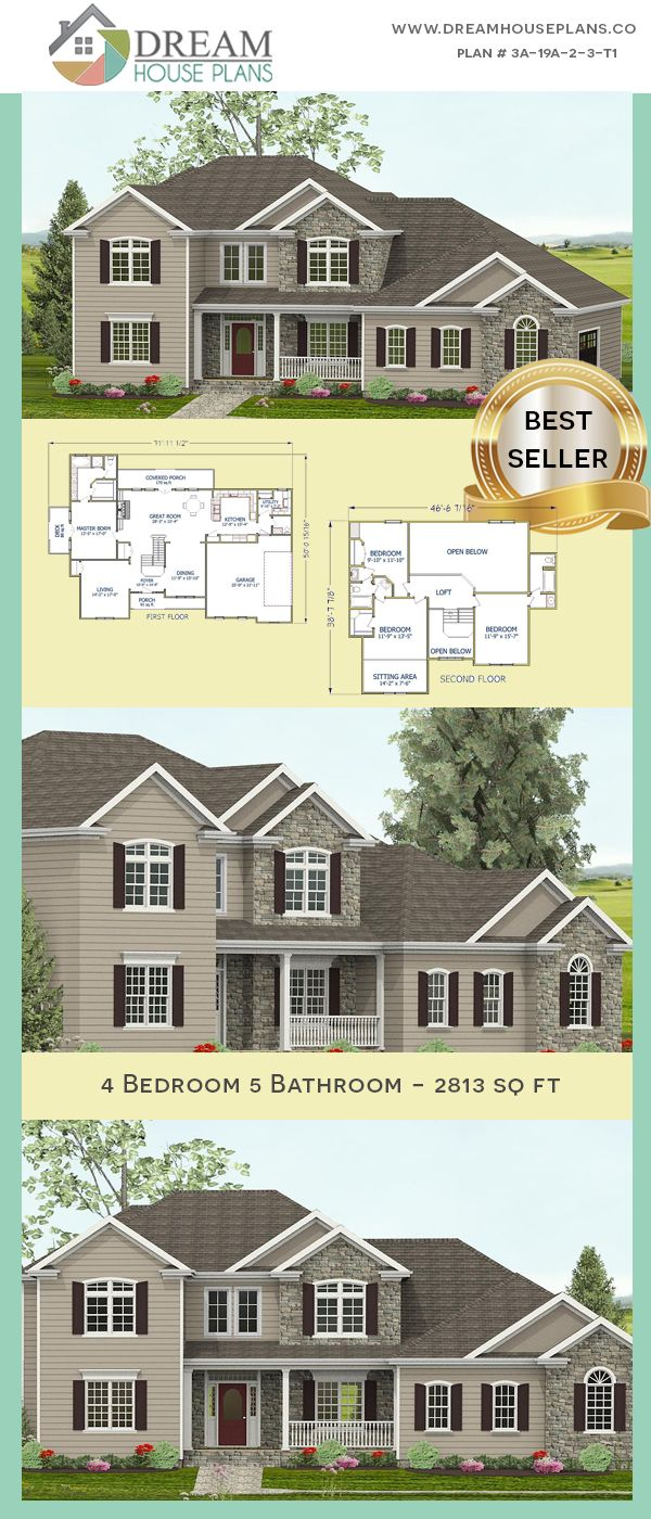 Dream House Plans Affordable Southern Family 4 Bedroom 2813 Sq Ft House Plan With A Basement Ope Affordable House Plans New House Plans Porch House Plans