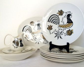 Vintage 1950u0027s Good Morning by Royal Dishes Dinnerware Set Mid Century Modern Rooster Kitchenware & 50 best vintage dinnerware images on Pinterest | Vintage dinnerware ...
