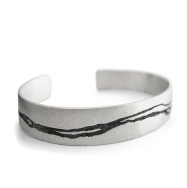 Silver Etched Cuff by Kate Smith