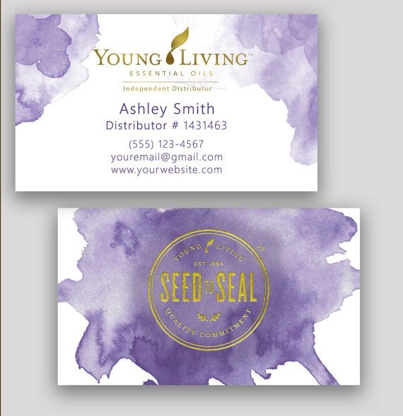 watercolor gold foil young living essential oils business cards by CustomOilyDesigns for independent distributors.