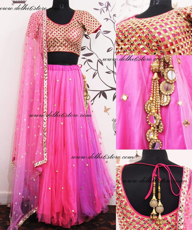 Heavy Mirror Embroidered Choli with Ombre Shaded Lehenga and Beautiful Mirror Dupatta!