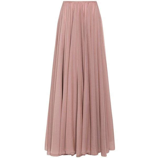 Lara Khoury Full Length Evening Skirt found on Polyvore featuring skirts, bottoms, saias, high rise skirts, full knee length skirt, brown skirt, brown layered skirt and layered skirt