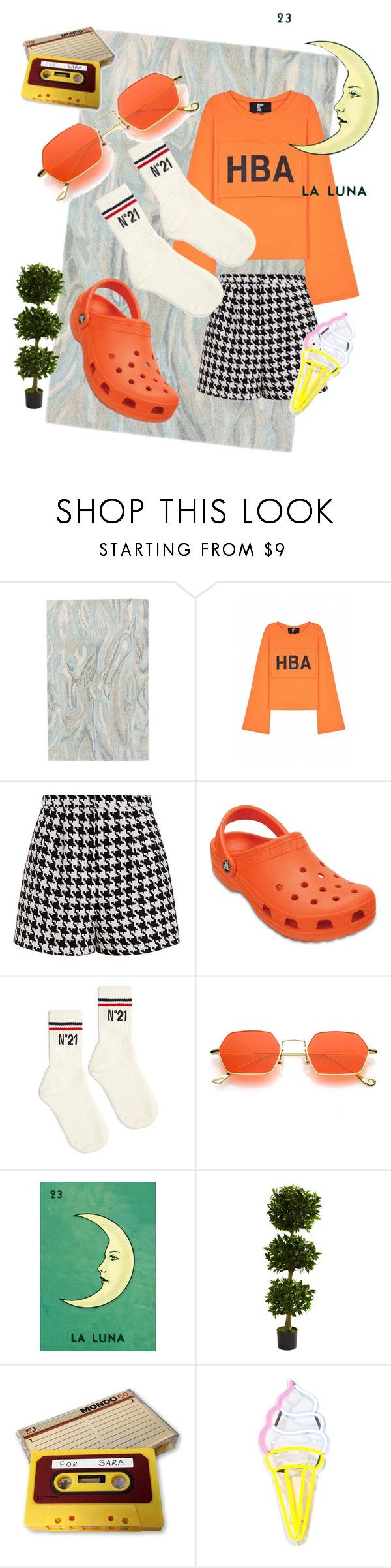 """""""Orange Moon"""" by arielledion ❤ liked on Polyvore featuring Ballard Designs, Hood by Air, Emma Cook, Crocs, N°21 and Nearly Natural"""