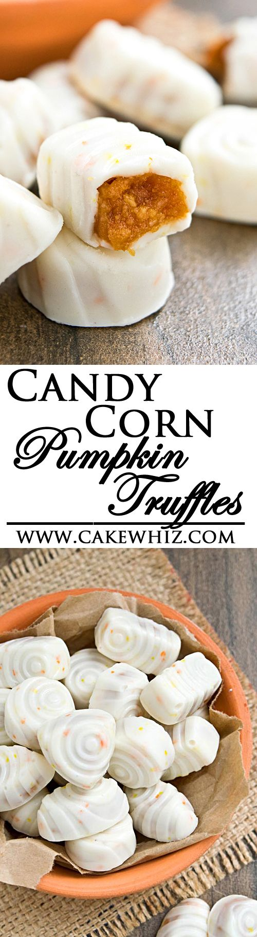 Fudgy, ooey gooey PUMPKIN TRUFFLES covered in candy corn white chocolate. Perfect treat for Fall and great as a homemade gift too! From cakewhiz.com