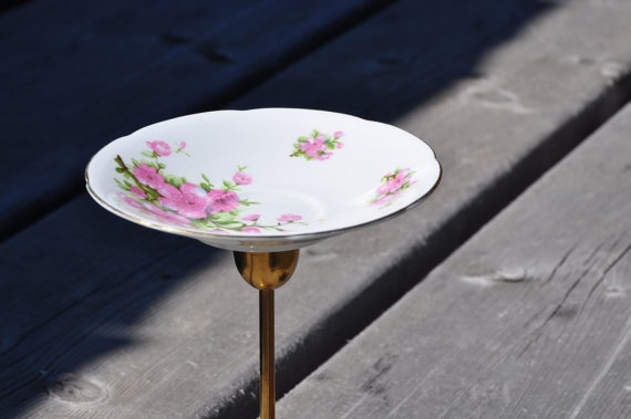 Brass Jewelry Stand with Vintage Plate with Pink by HauteHomeDecor, $19.00