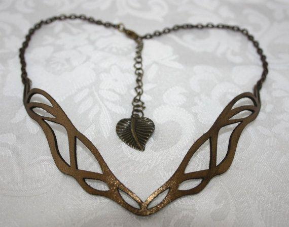 Bronze laser cut leather Art Nouveau necklace. by Deccoangel
