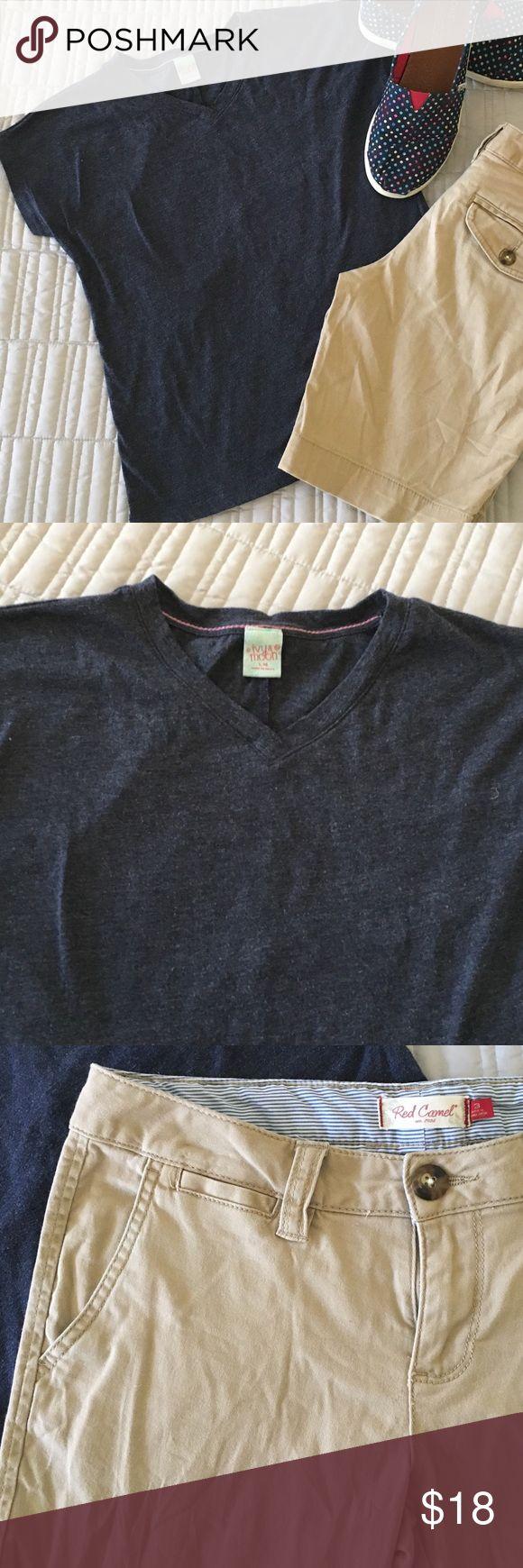 "Navy T-Shirt  & Khaki Shorts - Girls Navy Ivy & Moon T-shirt from Nordstrom, size L/14 & Khaki Red Camel Shorts, size 3, 9"" inseam. Other"