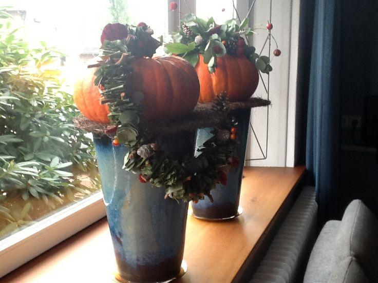 Autum decorated pumkins- pompoenen met herfst decoratie