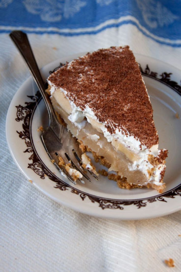 """Banoffee Pie (recipe) - """"An irresistible British dessert, banoffee pie has its share of fanatics on this side of the pond, too. Banana slices, sticky toffee, and whipped cream are arranged in layers over a cookie-like crust, resulting in a dense, cool treat. Using crushed digestive biscuits and unsweetened whipped cream keeps it from being too sweet."""""""