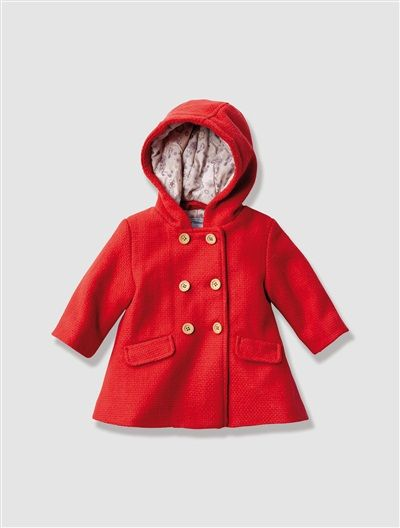 Baby Girl's Hooded Wool Mix Coat