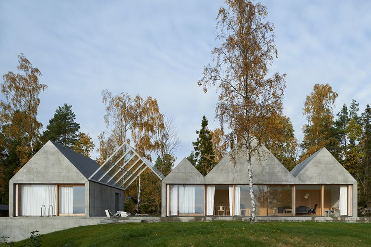 House Design Connected to Natural Landscape: Summerhouse Lagnö : Exterior View From Summer House Under Sweden Decorated Among Glass Wall Design Also Green Landscaping Style