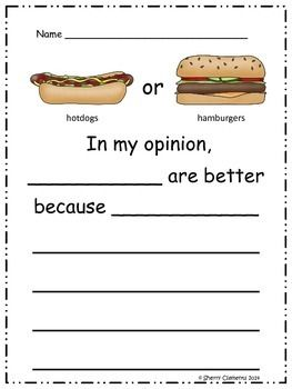 Opinion Writing : Favorite Foods -- This activity encourages students to give the reason why they think their choice is better.$