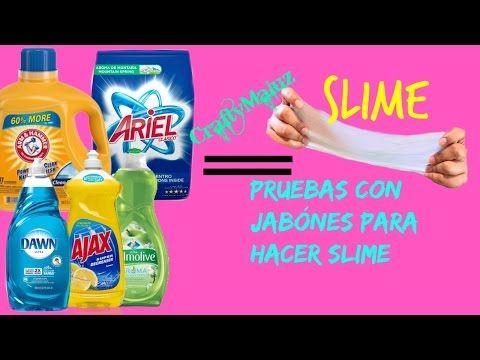 Pruebas con jabónes para hacer slime (Como hacer Slime con detergente liquido) - YouTube