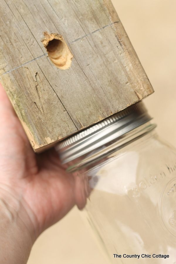 Make your own carpenter bee trap from a scrap 4x4 and a mason jar!