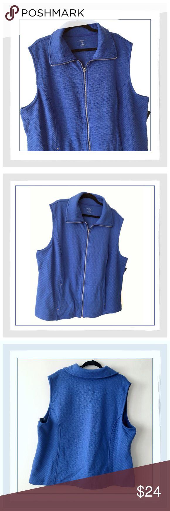 ✨{Plus} Karen Scott Sport Quilted Vest✨ ✨{Plus} Karen Scott Sport Quilted Vest✨Great Vest To Warm Your Core When You Just Need A Little More✨Fabric: Cotton/Polyester✨2 Front Zippered Pockets✨Color Is Pacific Blue✨NWT✨Size 3X✨ Karen Scott Jackets & Coats Vests