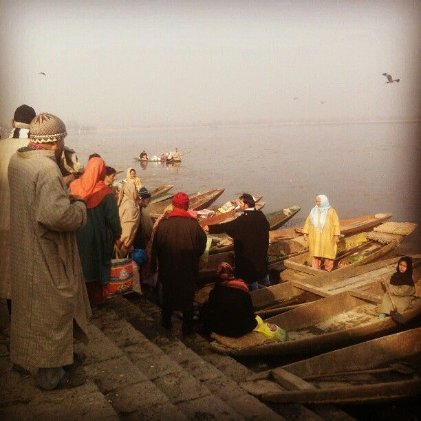 Selling & buying of vegetables on banks of Dal Lake at Dargah Hazratbal